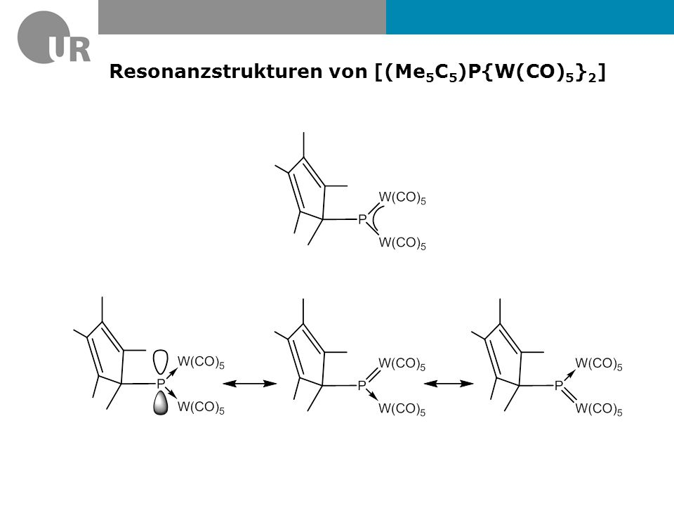Resonanzstrukturen von [(Me5C5)P{W(CO)5}2]